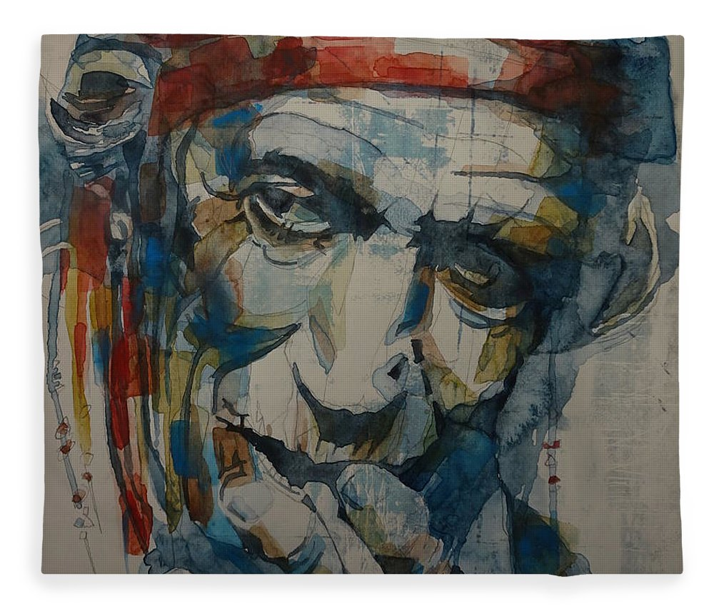 Rolling Stones Fleece Blanket featuring the painting Keith Richards Art by Paul Lovering