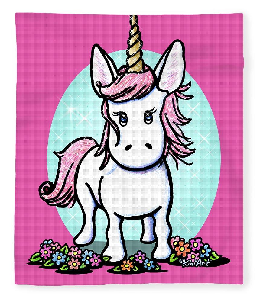 Unicorn Fleece Blanket featuring the drawing Kiniart Unicorn Sparkle by Kim Niles