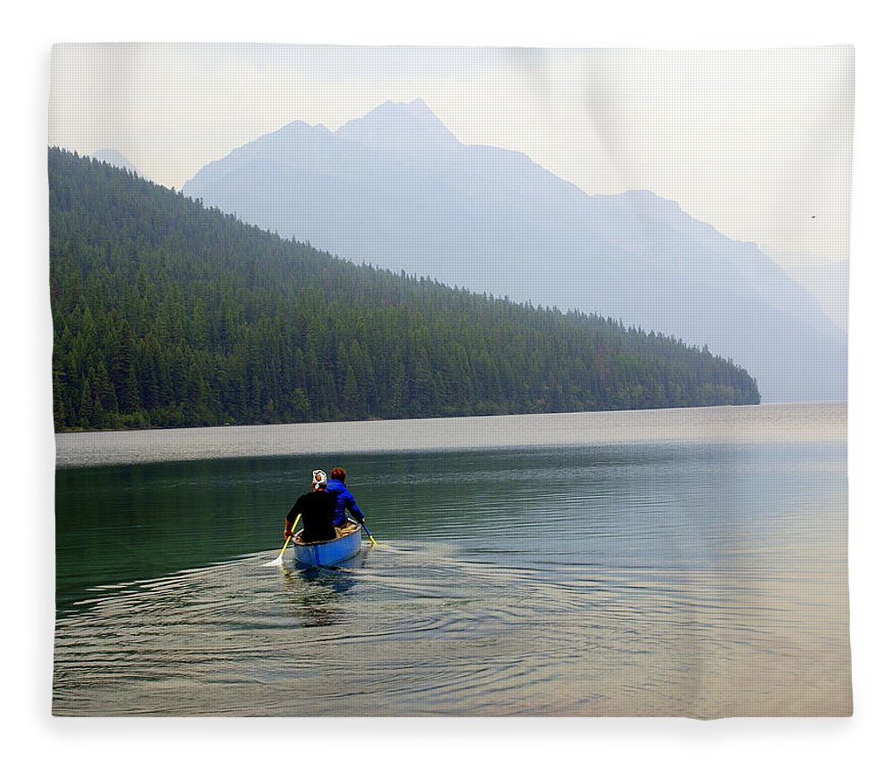 Mountains Fleece Blanket featuring the photograph Kintla Lake Paddlers by Marty Koch