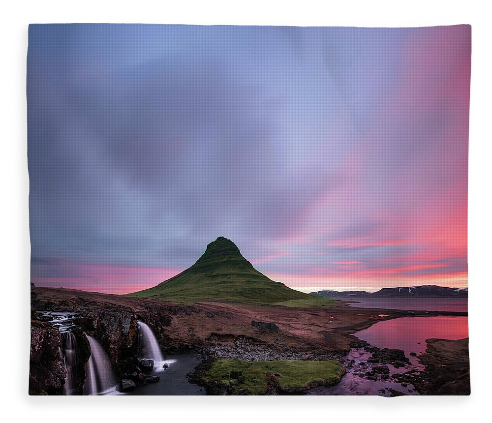 Mountains Fleece Blanket featuring the photograph Kirkjufellsfoss Waterfalls Iceland square version by Larry Marshall