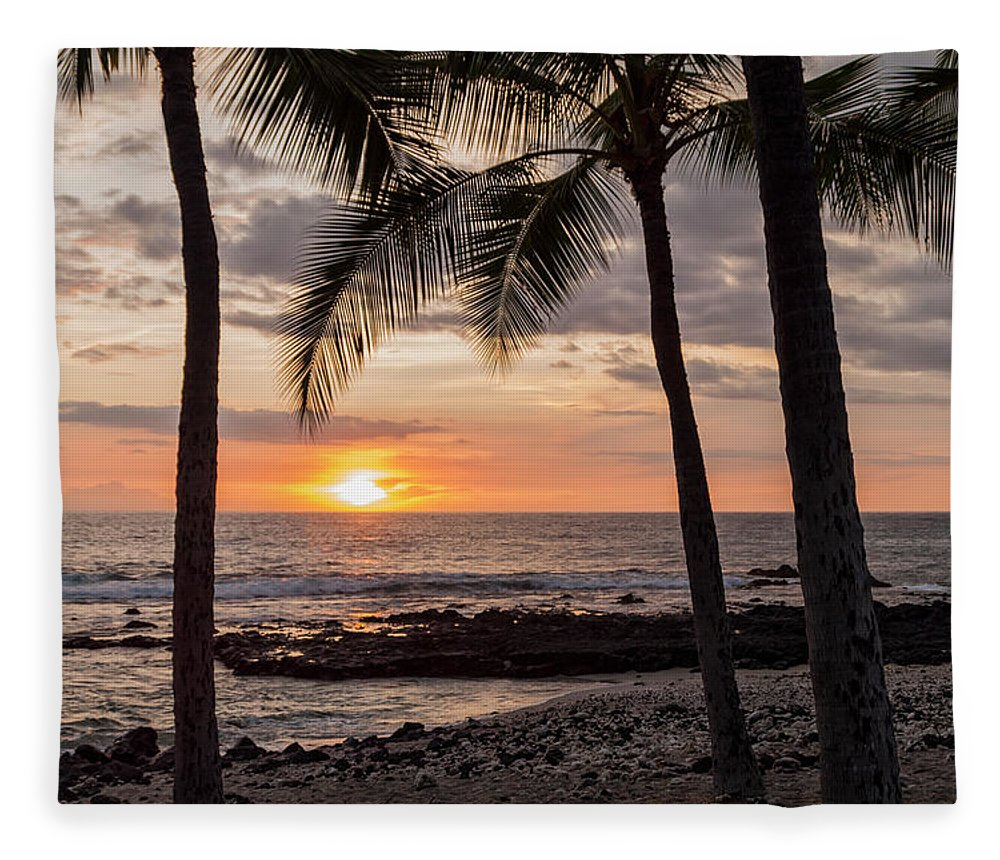 Kona Big Island Hawaii Beach Ocean Sunset Fleece Blanket featuring the photograph Kona Sunset by Brian Harig