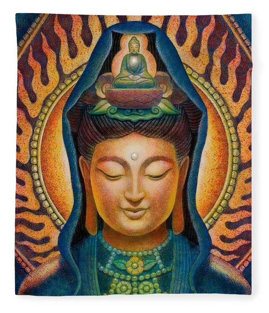 Zen Fleece Blanket featuring the painting Kuan Yin Flame by Sue Halstenberg