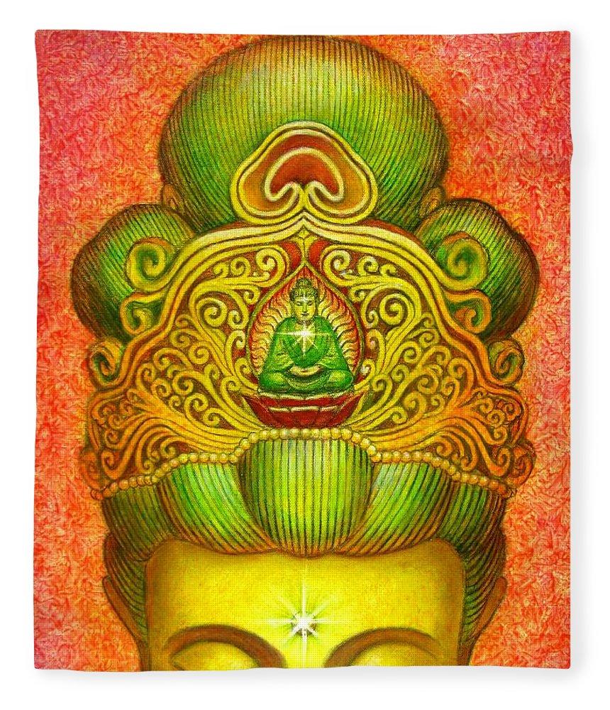 Kuan Yin Fleece Blanket featuring the painting Kuan Yin's Buddha Crown by Sue Halstenberg