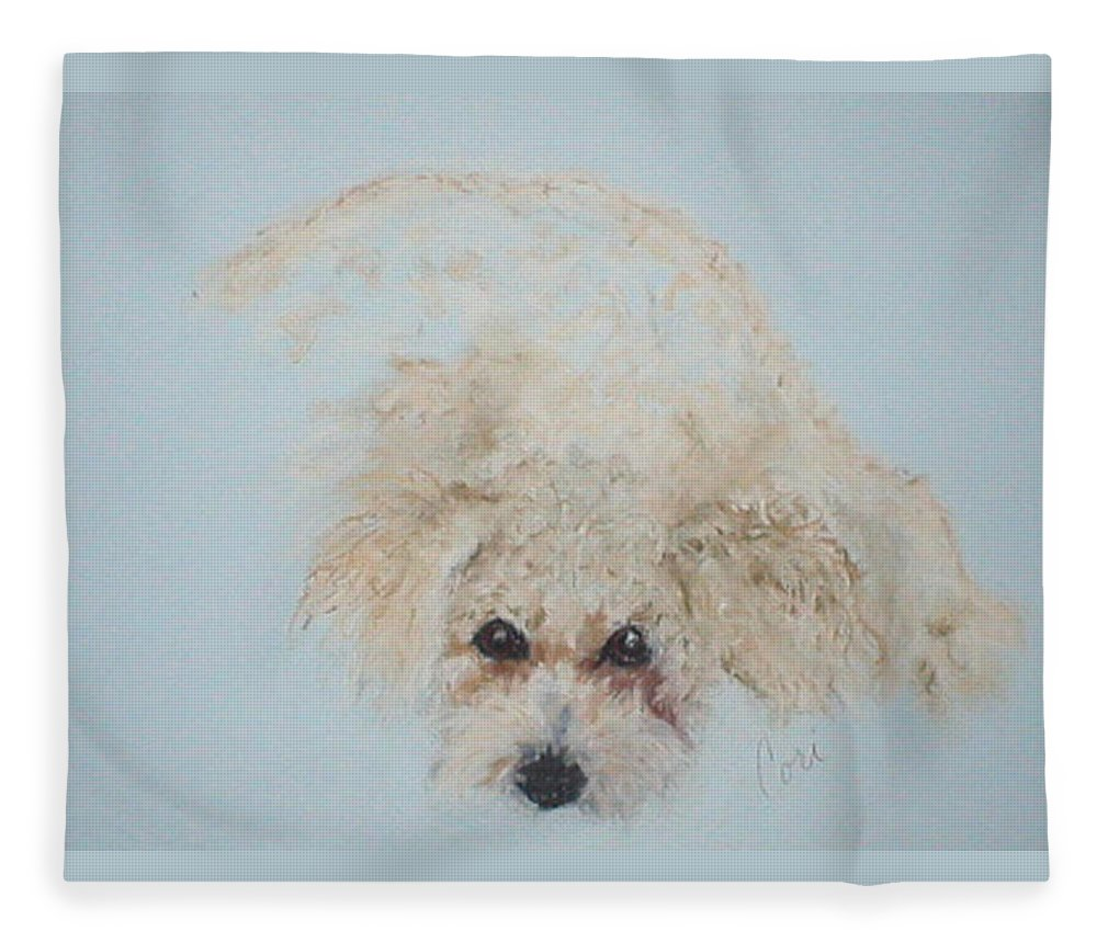 Dog Fleece Blanket featuring the drawing Kuku by Cori Solomon