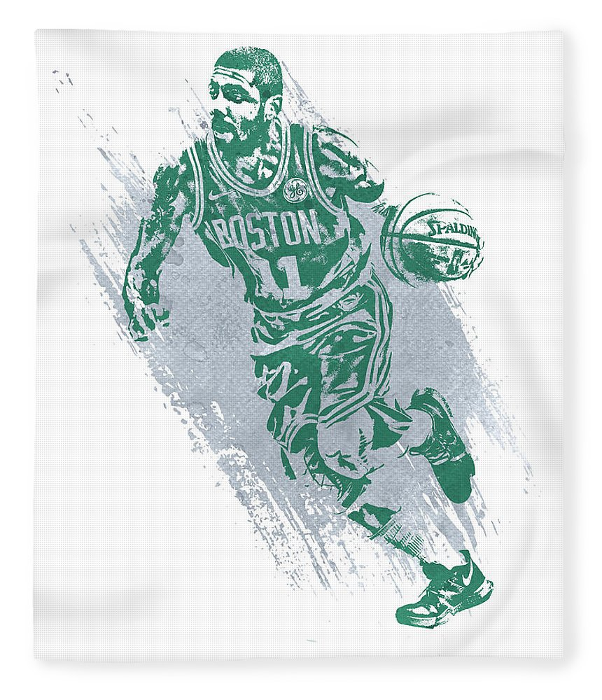 Kyrie Irving Fleece Blanket featuring the mixed media Kyrie Irving Boston Celtics Water Color Art 2 by Joe Hamilton