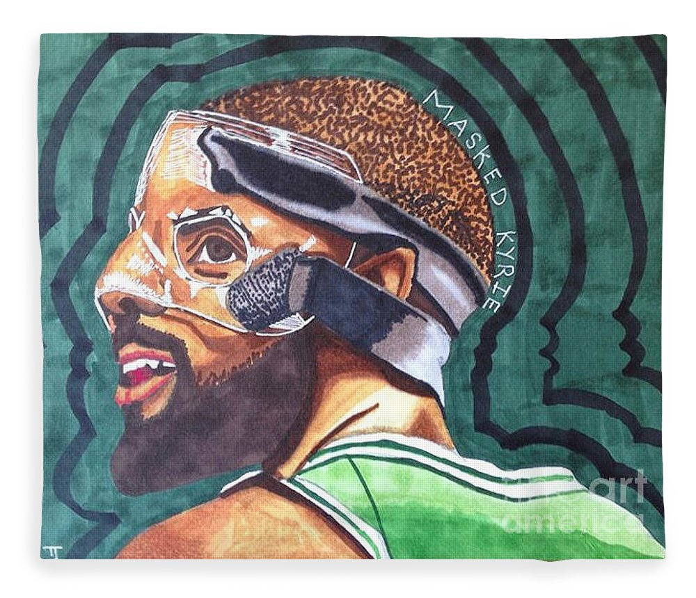 c039c865b52 Nba Basketball Boston Celtics Kyrie Irving Marker Drawing Original Fleece  Blanket featuring the drawing Kyrie Irving