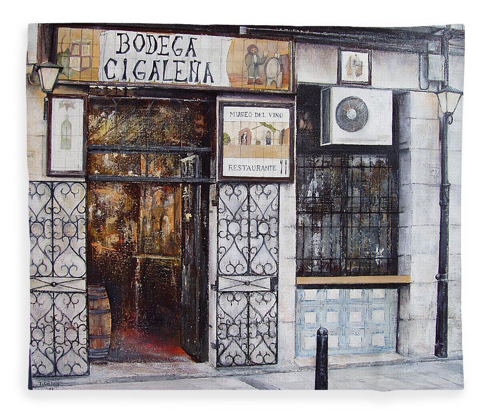 Bodega Fleece Blanket featuring the painting La Cigalena Old Restaurant by Tomas Castano