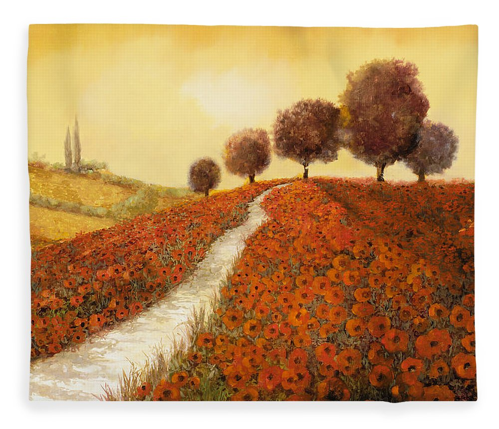 Tuscany Fleece Blanket featuring the painting La Collina Dei Papaveri by Guido Borelli
