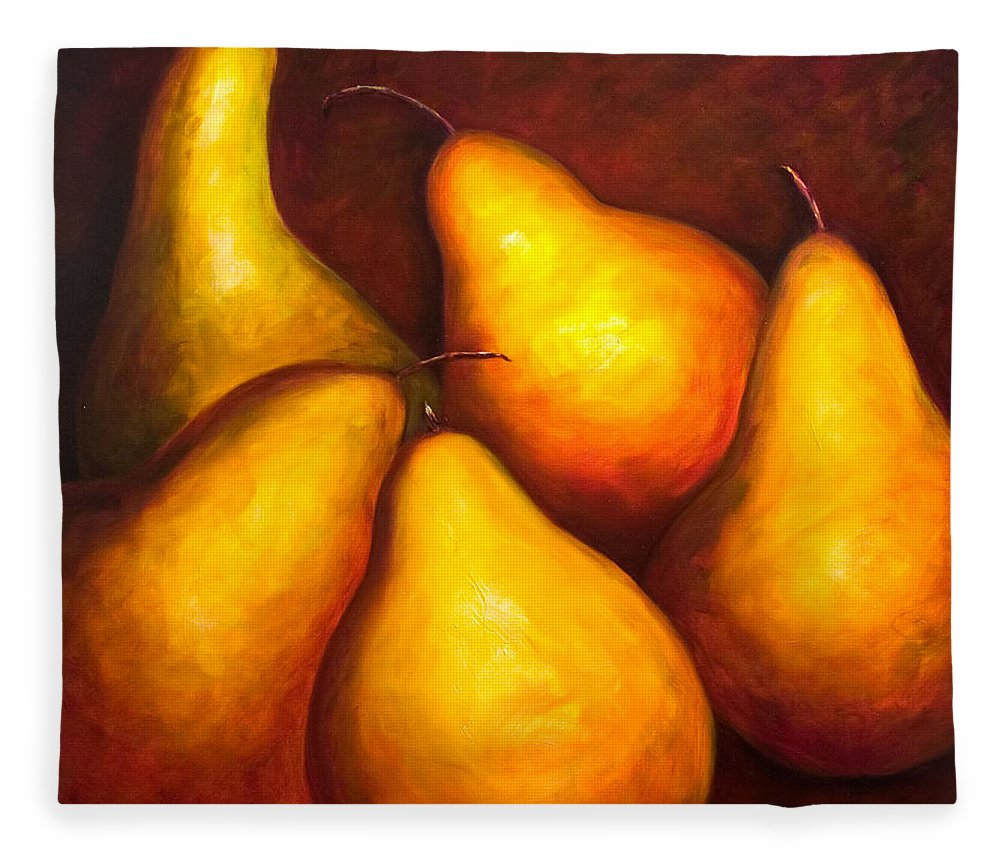 Still Life Yellow Fleece Blanket featuring the painting La Familia by Shannon Grissom