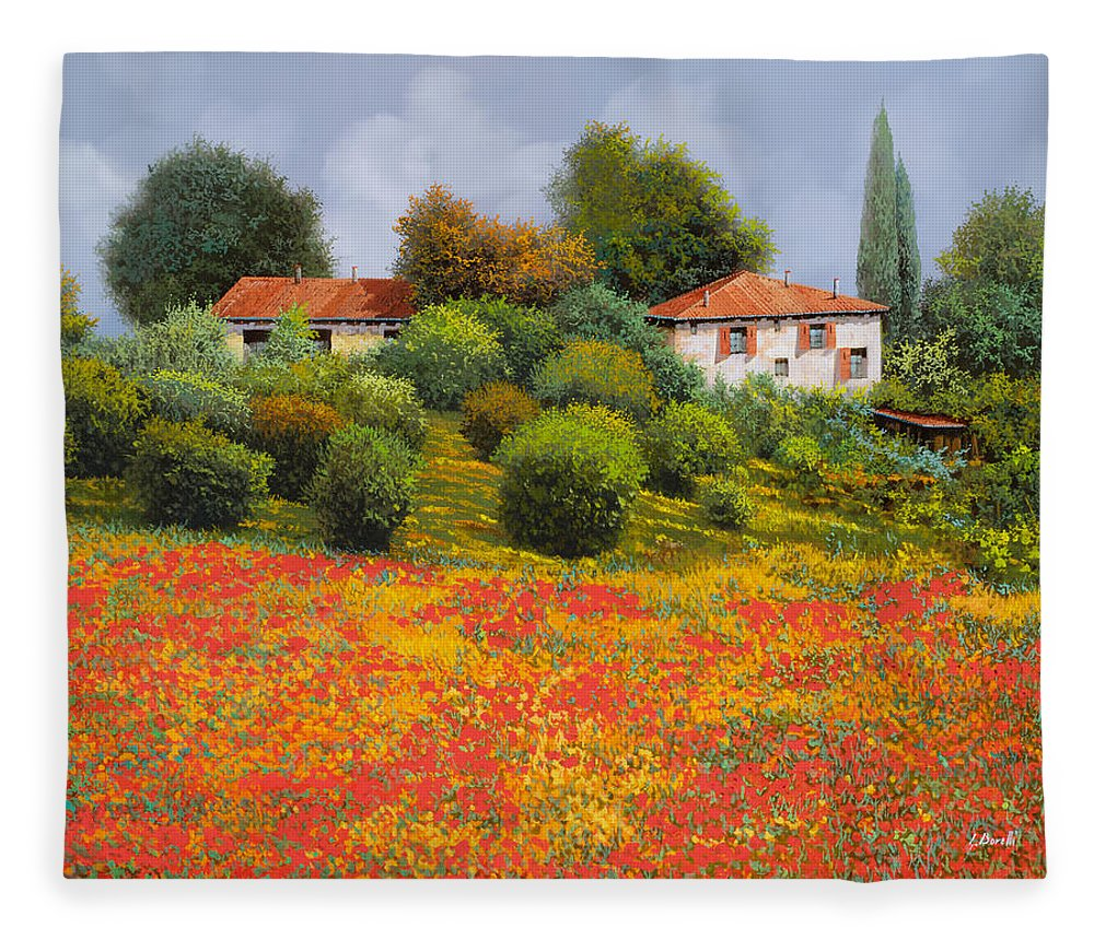 Summer Fleece Blanket featuring the painting La Nuova Estate by Guido Borelli