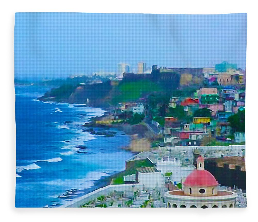 San Juan Fleece Blanket featuring the photograph La Perla In Old San Juan by Craig David Morrison
