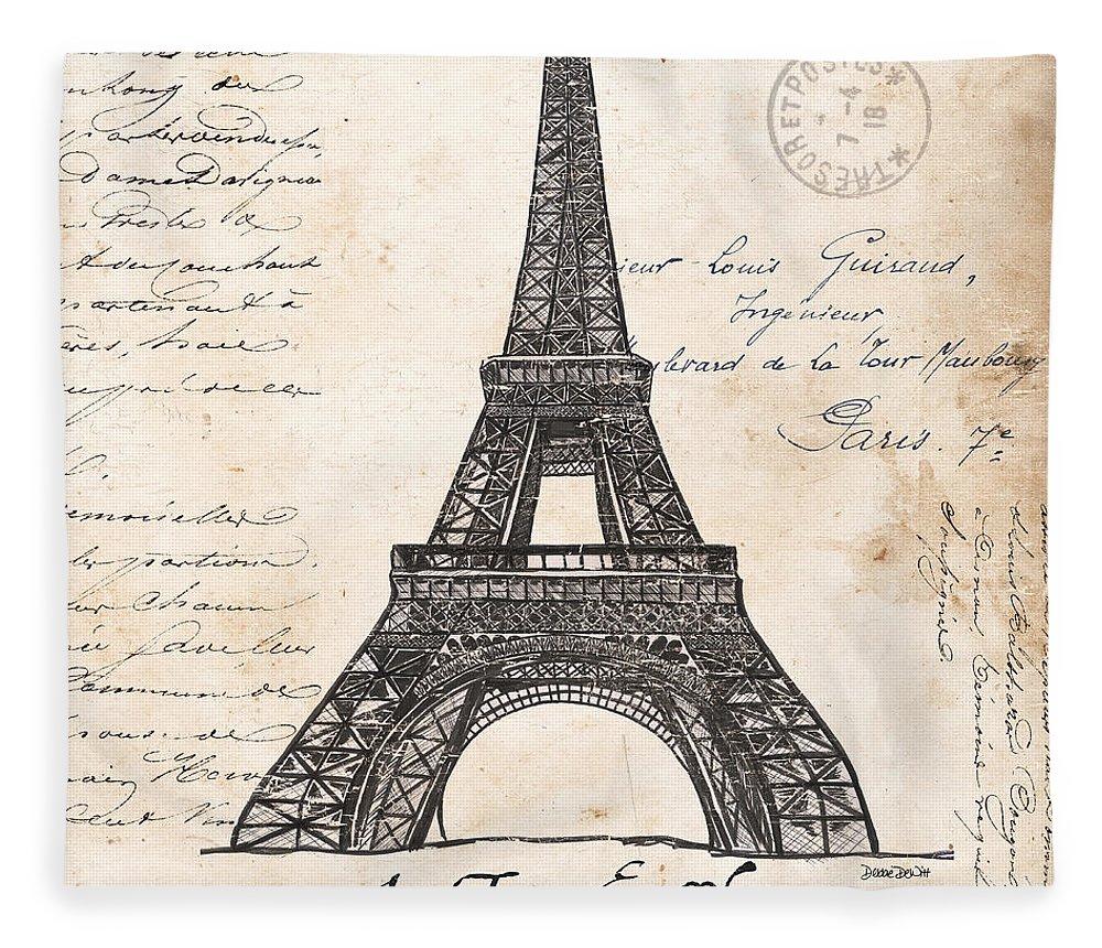 Eiffel Tower Fleece Blanket featuring the painting La Tour Eiffel by Debbie DeWitt