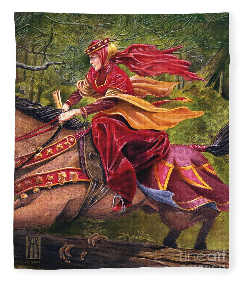 Camelot Fleece Blanket featuring the painting Lady Lunete by Melissa A Benson