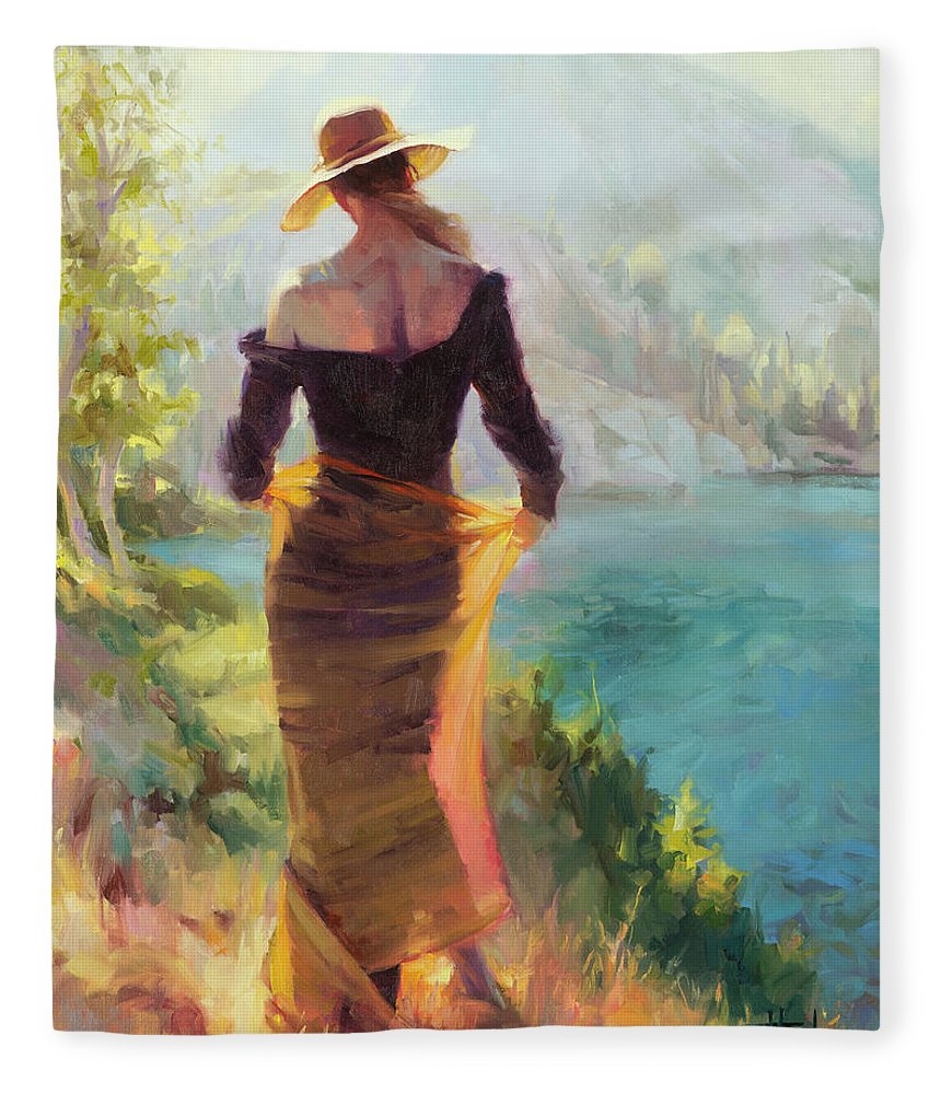 Woman Fleece Blanket featuring the painting Lady of the Lake by Steve Henderson