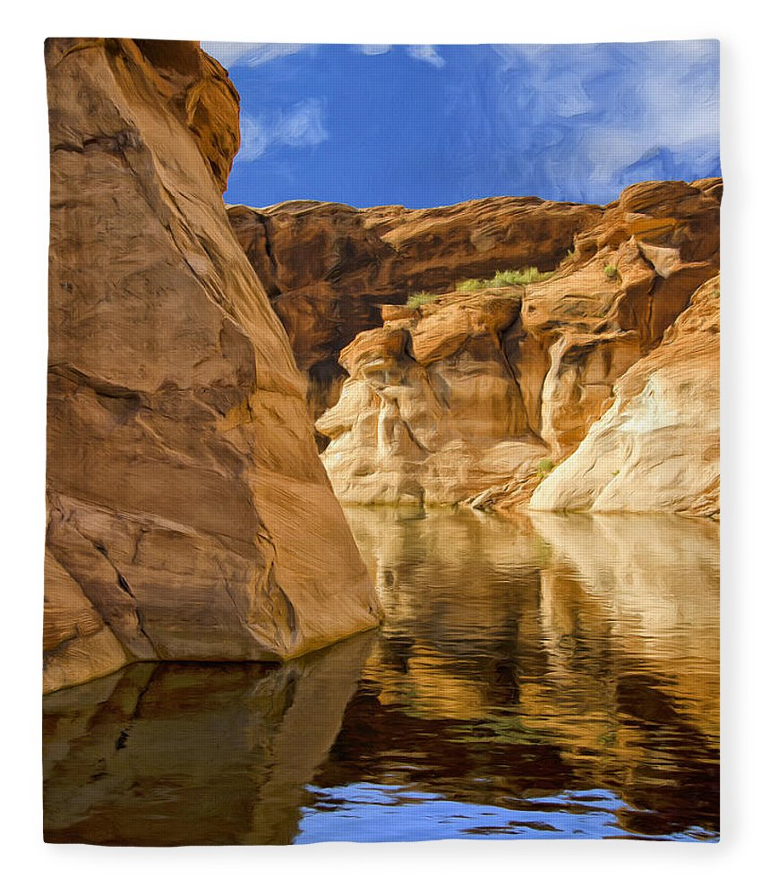 Morning Fleece Blanket featuring the painting Lake Powell Stillness by Dominic Piperata
