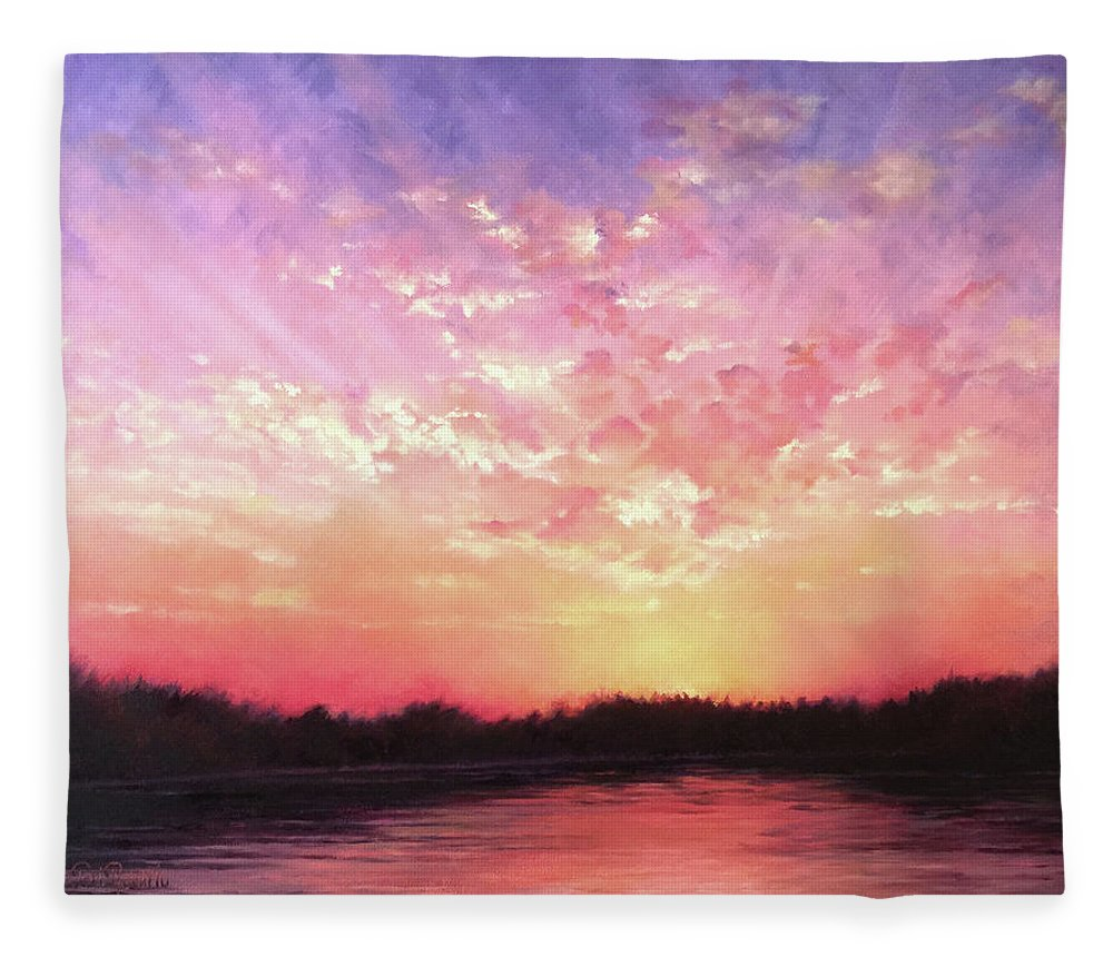 Landscape Fleece Blanket featuring the painting Lake Sunset by Teri Rosario