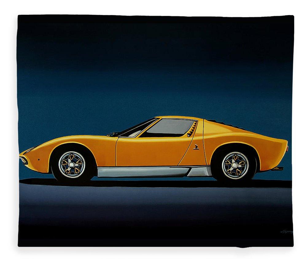 Lamborghini Miura Fleece Blanket featuring the painting Lamborghini Miura 1966 Painting by Paul Meijering