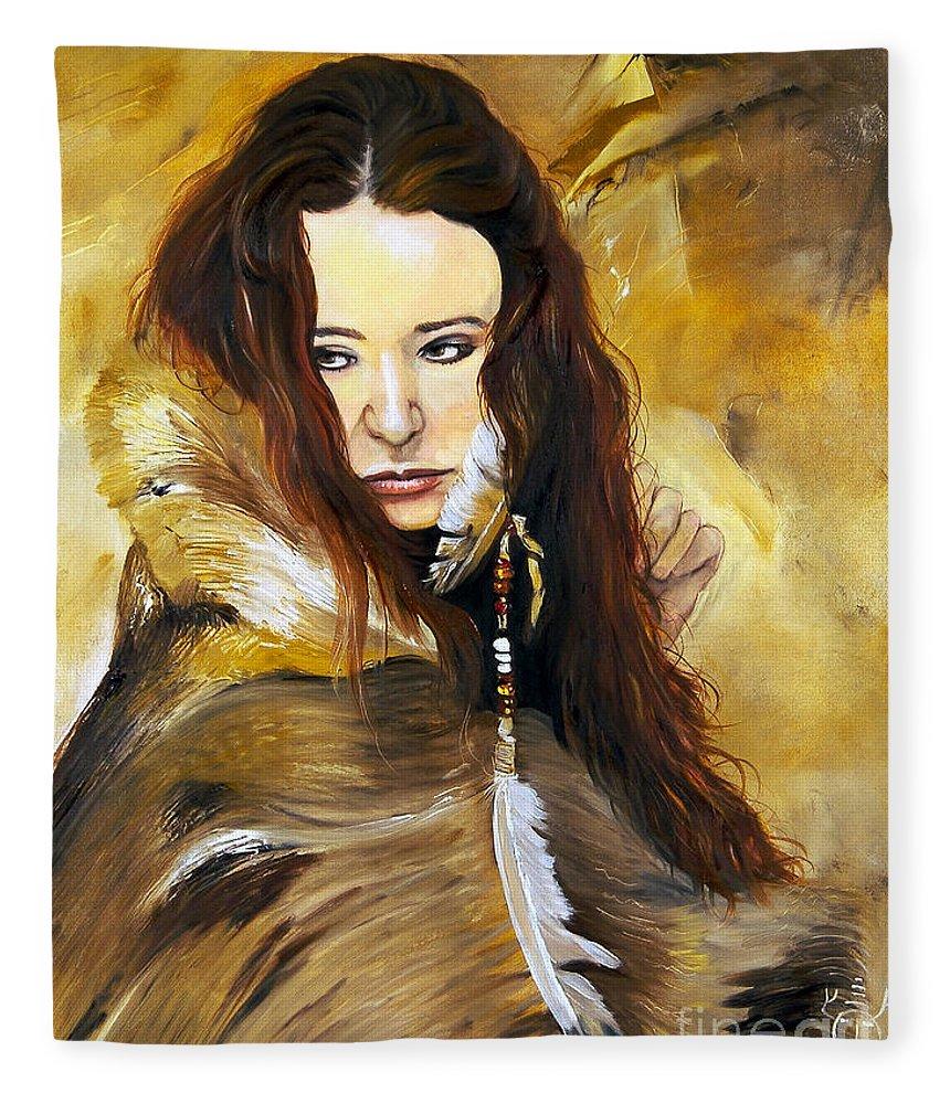 Southwest Art Fleece Blanket featuring the painting Lament by J W Baker