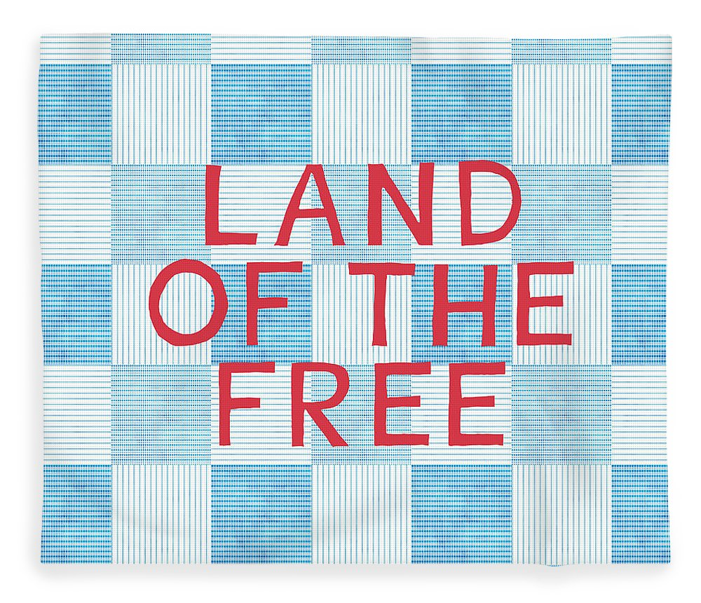 Land Of The Free Fleece Blanket featuring the painting Land Of The Free by Linda Woods