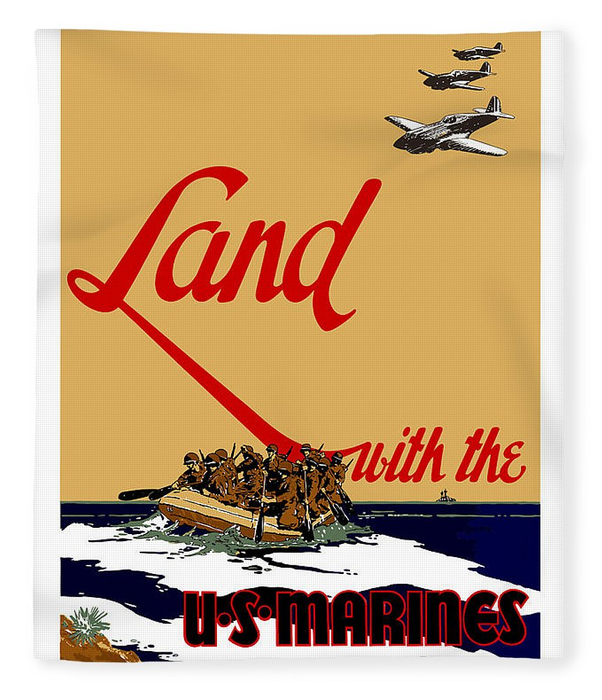 Marine Recruiting Fleece Blanket featuring the painting Land With The Us Marines by War Is Hell Store