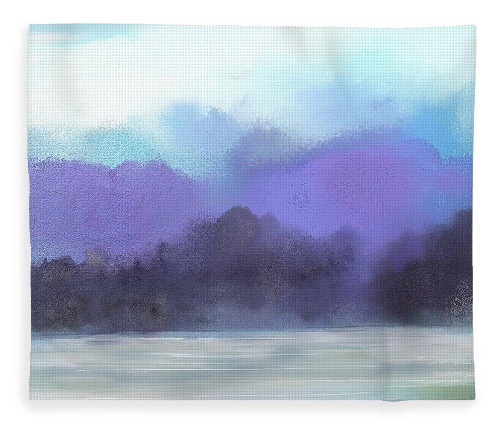 Digital Painting Fleece Blanket featuring the digital art Landscape 02-19-10 by David Lane