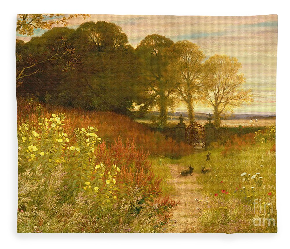 Landscape Fleece Blanket featuring the painting Landscape With Wild Flowers And Rabbits by Robert Collinson