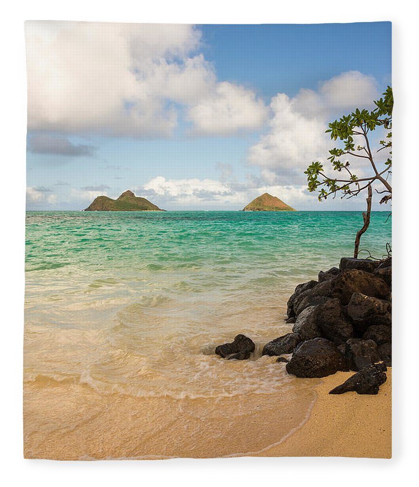 Lanikai Kailua Oahu Hawaii Beach Park Seascape Fleece Blanket featuring the photograph Lanikai Beach 1 - Oahu Hawaii by Brian Harig