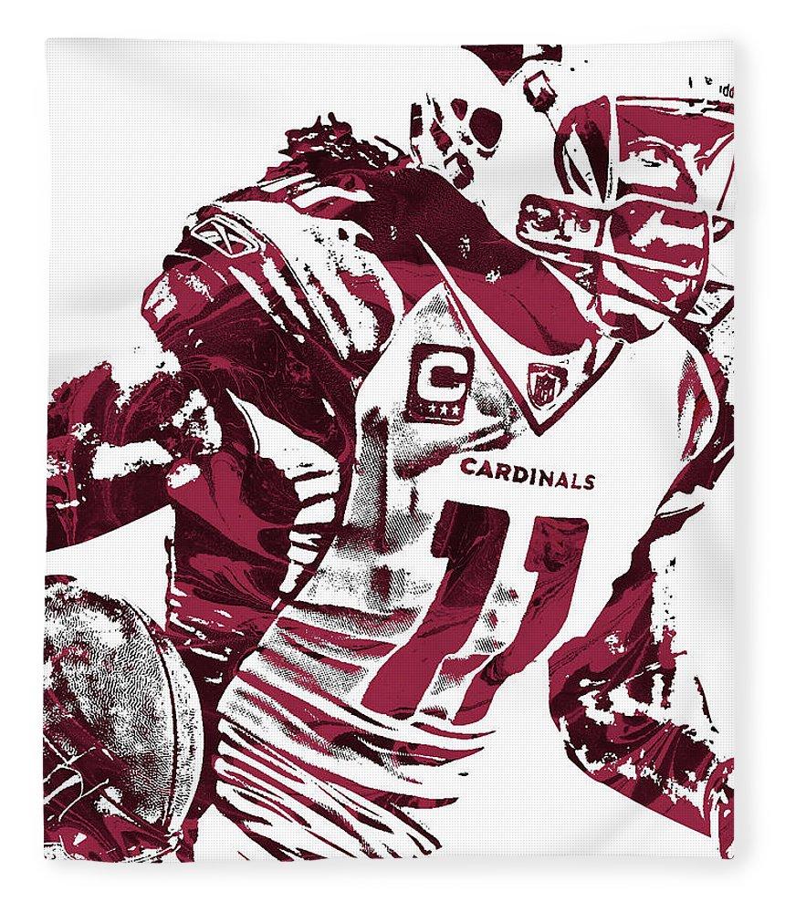23a0f2b9f861 Larry Fitzgerald Fleece Blanket featuring the mixed media Larry Fitzgerald Arizona  Cardinals Pixel Art 1 by