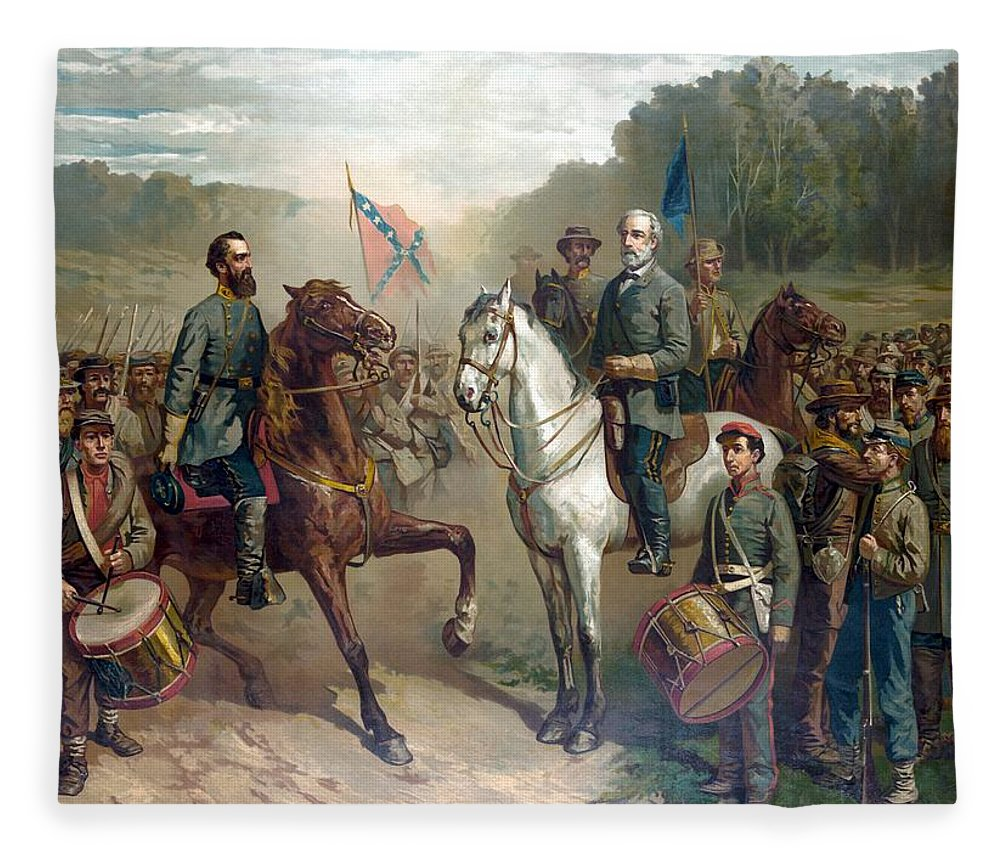 Robert E Lee Fleece Blanket featuring the painting Last Meeting Of Lee And Jackson by War Is Hell Store