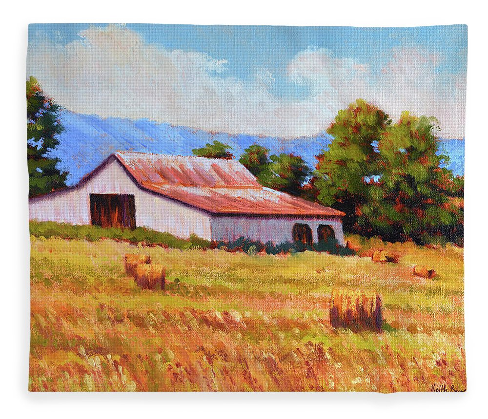 Impressionism Fleece Blanket featuring the painting Late Summer Hay by Keith Burgess