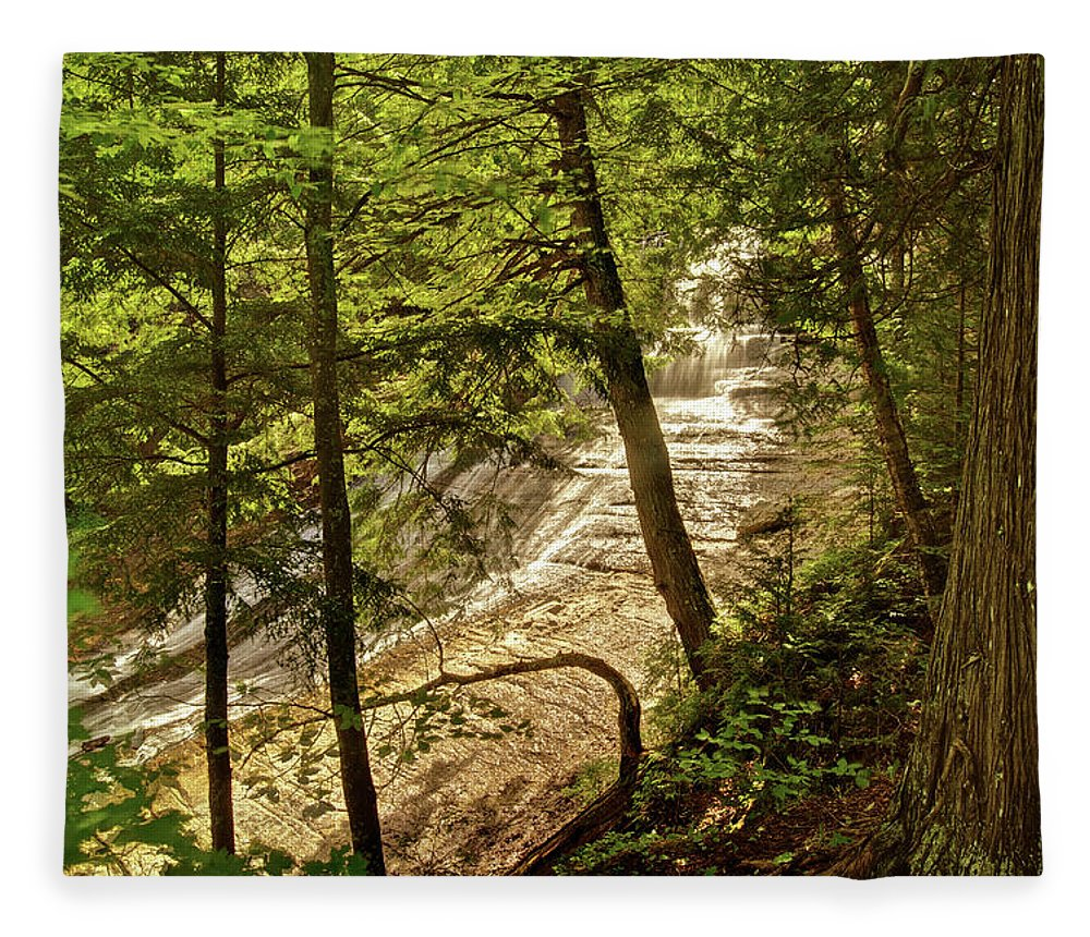 Laughing Whitefish Fleece Blanket featuring the photograph Laughing Whitefish Falls 2 by Michael Peychich
