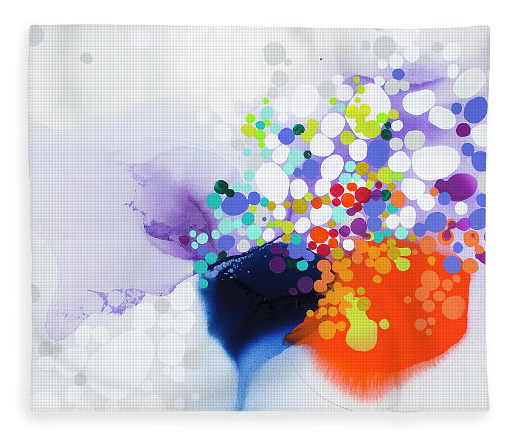 Abstract Fleece Blanket featuring the painting Lay The Blame by Claire Desjardins