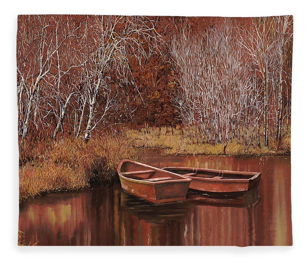 Boats Fleece Blanket featuring the painting Le Barche Allo Stagno by Guido Borelli