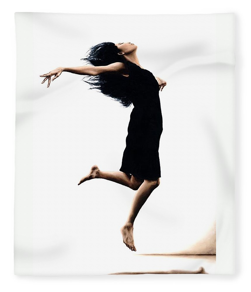 Ballet Fleece Blanket featuring the painting Leap into the Unknown by Richard Young
