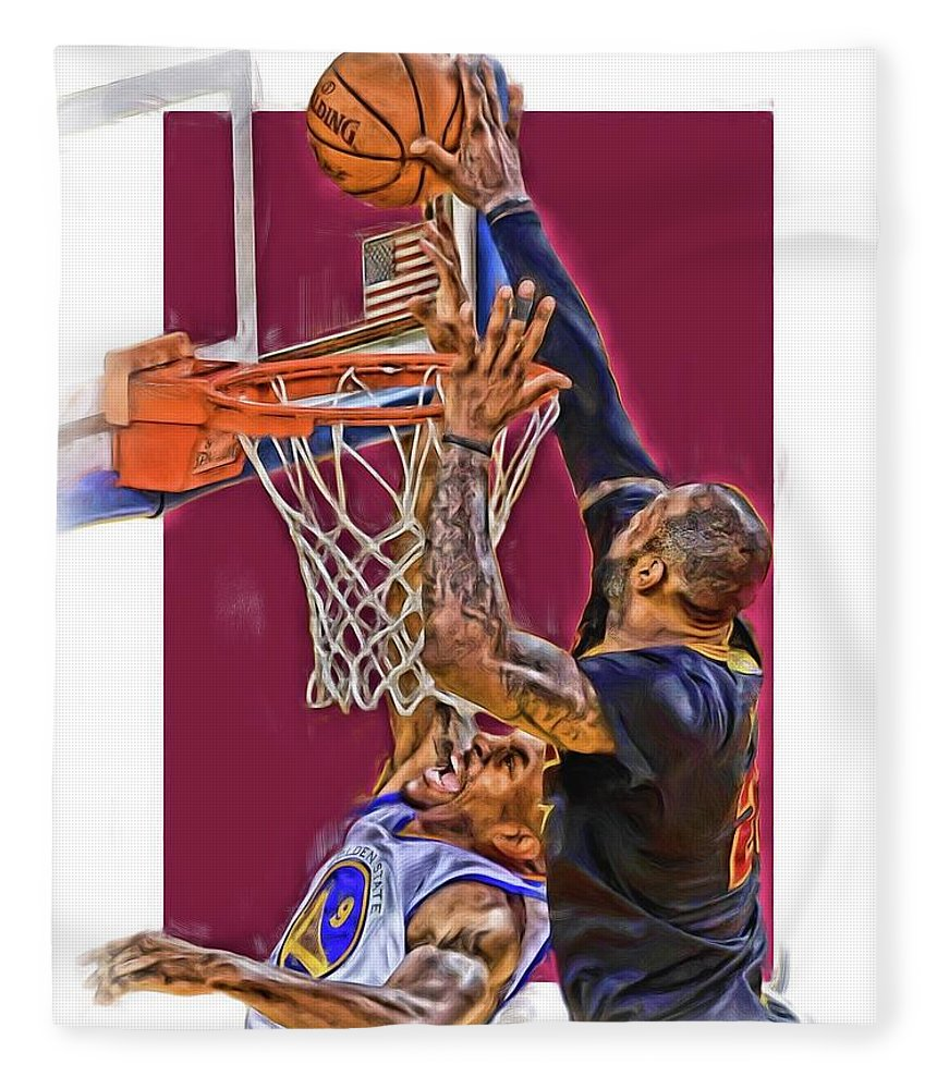Lebron James Fleece Blanket featuring the mixed media Lebron James Cleveland Cavaliers Oil Art by Joe Hamilton
