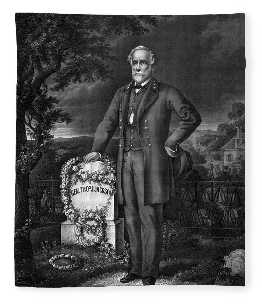 Civil War Fleece Blanket featuring the drawing Lee Visits The Grave Of Stonewall Jackson by War Is Hell Store