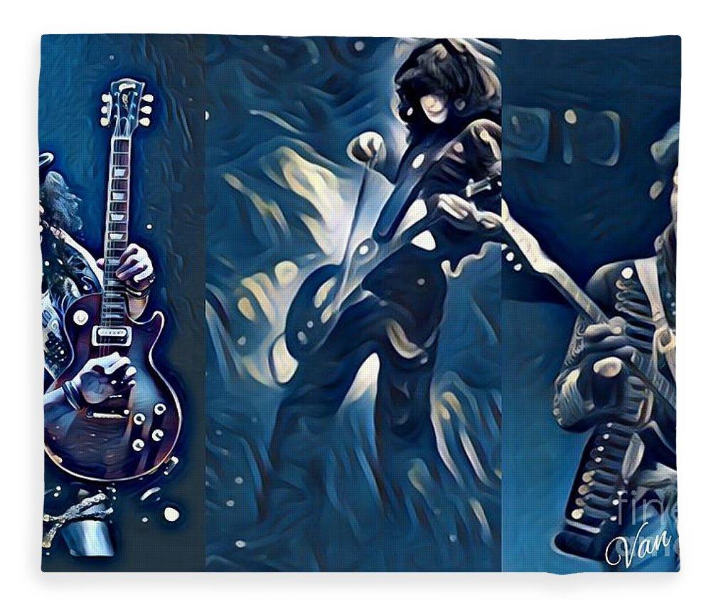 Jimi Fleece Blanket featuring the digital art Legendary Shredders - Masters Of Soul by Scott D Van Osdol
