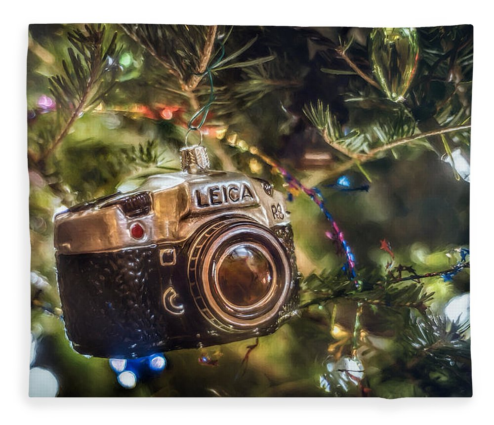 Scott Norris Photography. Christmas Tree Fleece Blanket featuring the photograph Leica Christmas by Scott Norris