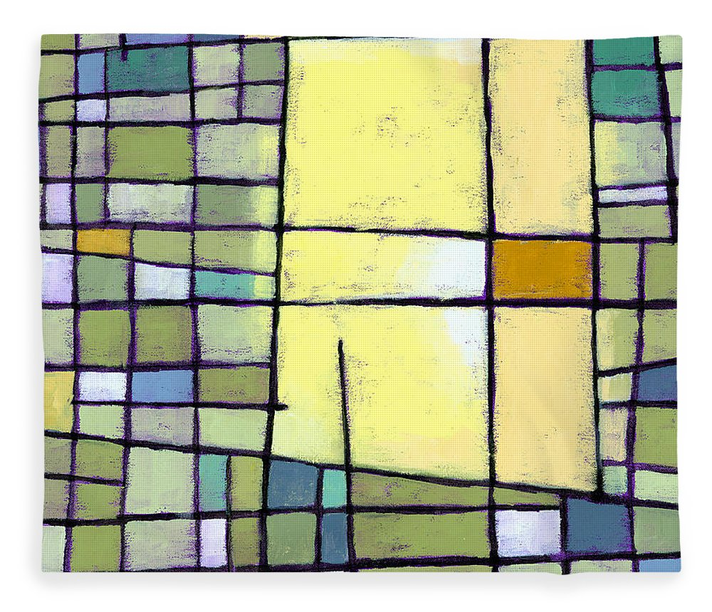 Abstract Fleece Blanket featuring the painting Lemon Squeeze by Douglas Simonson