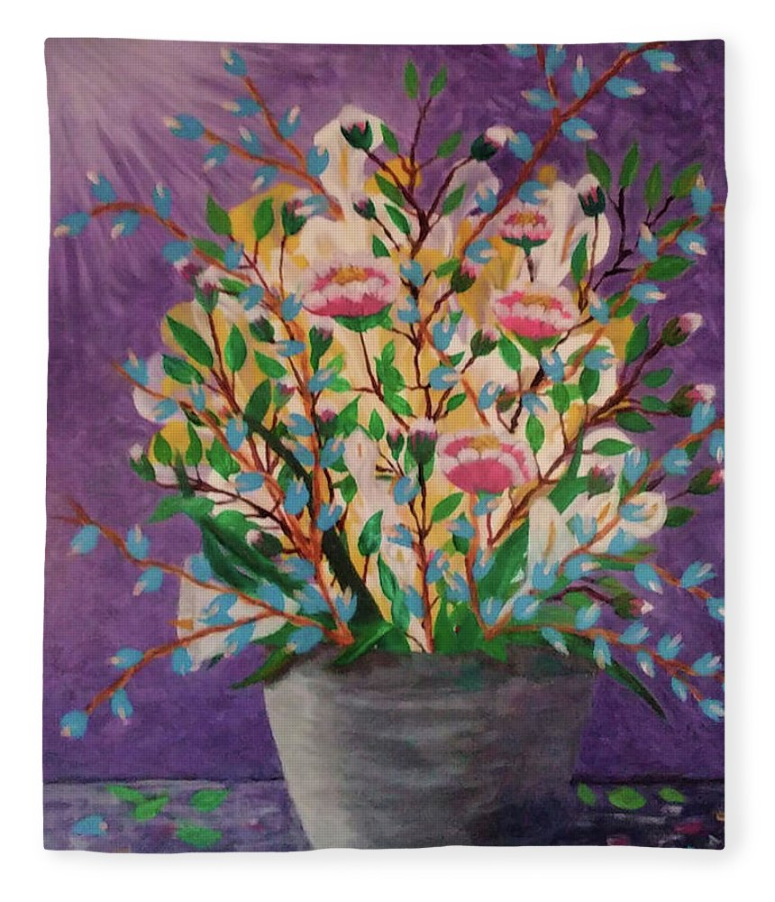 Still Life Fleece Blanket featuring the painting Les Fleurs by Diana Robbins
