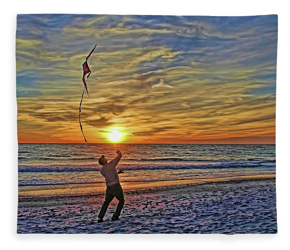 Fly A Kite Fleece Blanket featuring the photograph Let's Go Fly A Kite by HH Photography of Florida