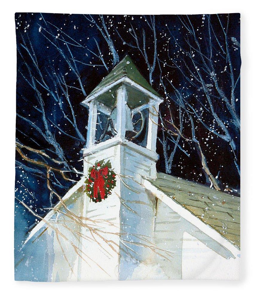 Liberty. Liberty Barn Church. Christmas Fleece Blanket featuring the painting Liberty Christmas by Charles Rowland