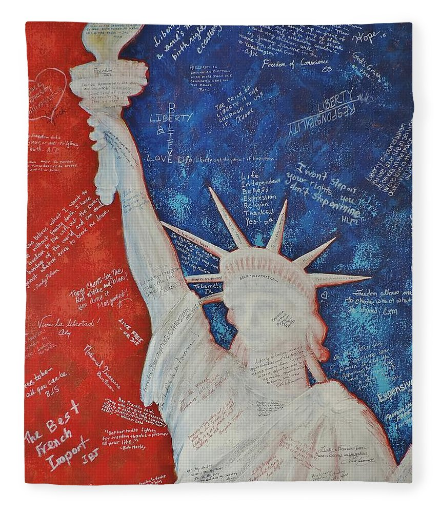 Statue Of Liberty Fleece Blanket featuring the painting Liberty Is... by Margaret Bobb