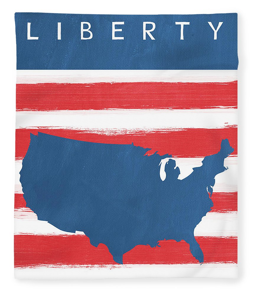 Liberty Fleece Blanket featuring the painting Liberty by Linda Woods