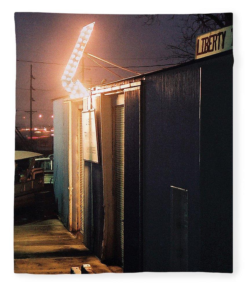 Night Scene Fleece Blanket featuring the photograph Liberty by Steve Karol