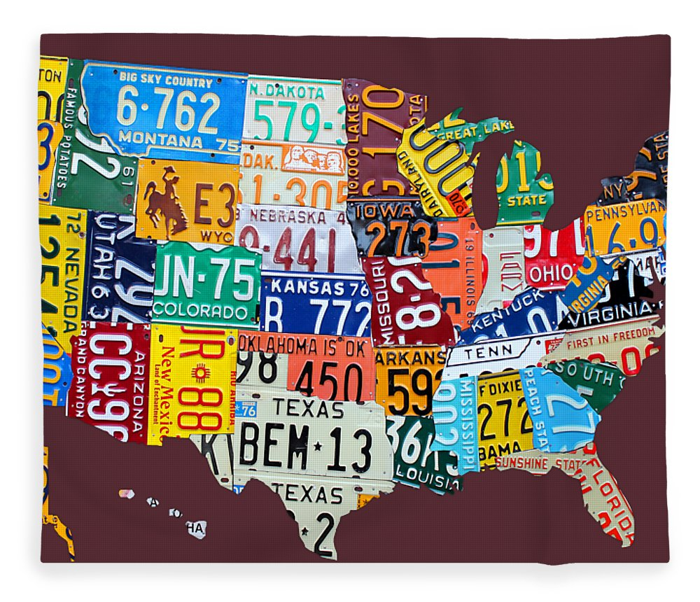 Art Fleece Blanket featuring the mixed media License Plate Map of The United States by Design Turnpike