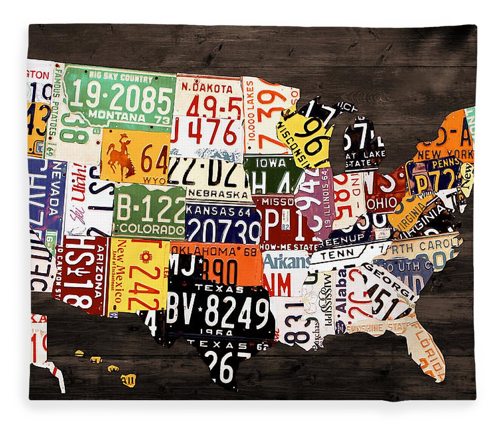 License Plate Map Of The United States Warm Colors Black Edition Fleece Blanket For Sale By Design Turnpike