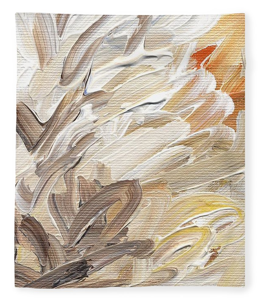 Abstract Fleece Blanket featuring the painting Life Imagined by Linda Mears