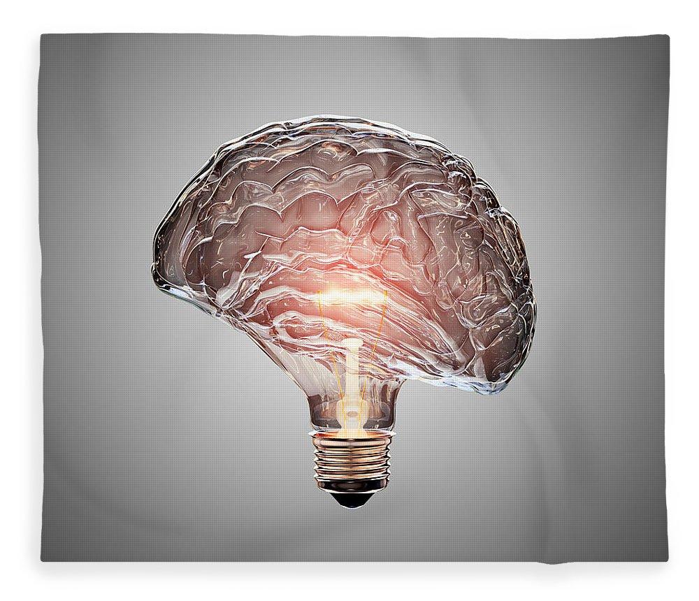 Light Fleece Blanket featuring the photograph Light Bulb Brain by Johan Swanepoel