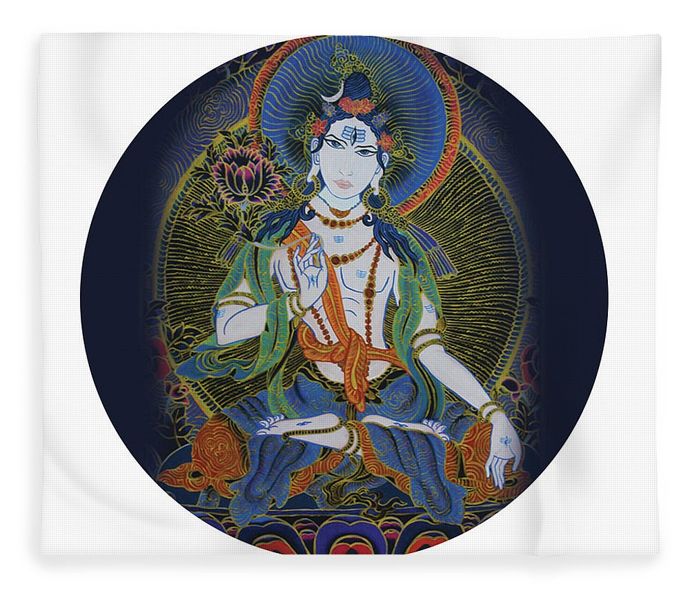 Spirituality Fleece Blanket featuring the painting Light Giving Shiva by Guruji Aruneshvar Paris Art Curator Katrin Suter